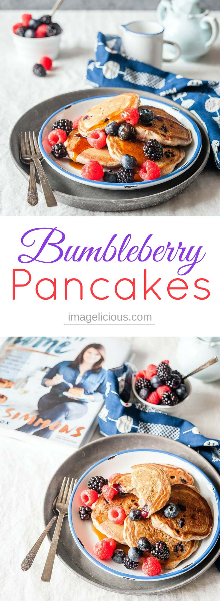 These Bumbleberry Pancakes are absolutely delicious! Fluffy, lightly sweetened, bursting with juicy berries. Buckwheat flour adds a little bit extra nutrition and flavour to this breakfast | Imagelicious #breakfast #brunch #pancakes #berries #bumbleberry #bumbleberrypancakes #buckwheat