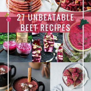 This list of 27 Unbeatable Beet Recipes will satisfy all your beet cravings. From breakfasts, to salads, to mains, to desserts, to drinks, there are recipes for any taste and occasion. Beautiful and healthy beets add a brilliant pink colour to all the recipes thus making them perfect for Valentine's Day or any other special occasion | imagelicious.com #beets #roundup