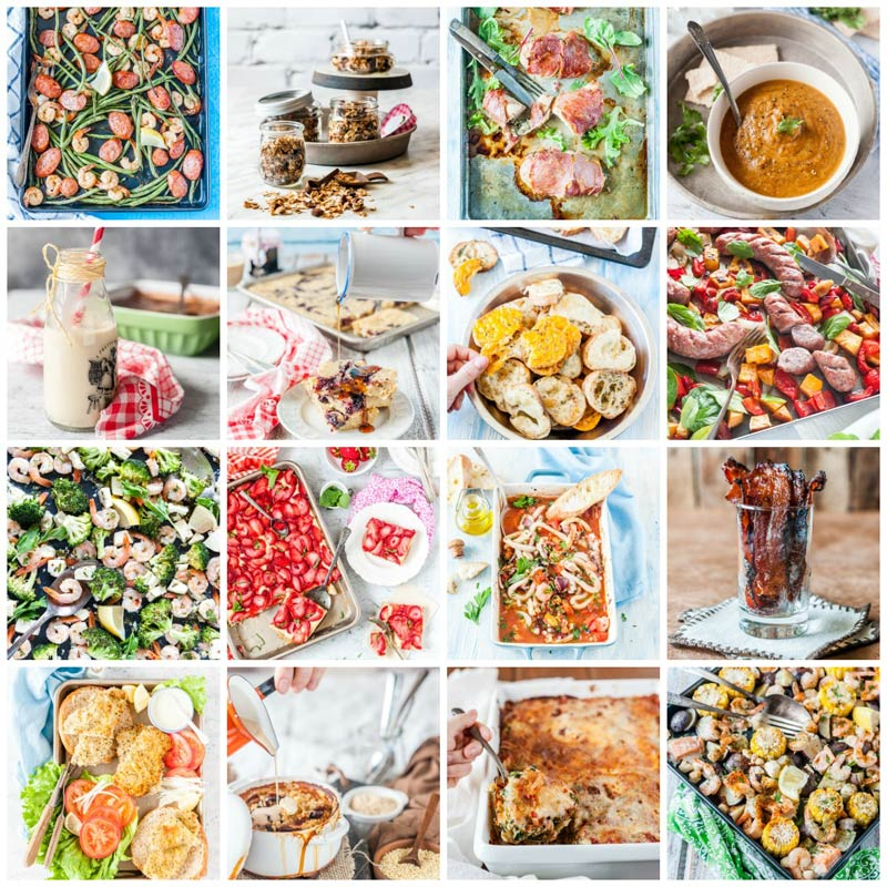 Collage of a few photos from The Ultimate One-Pan Oven Cookbook by Julia Konovalova