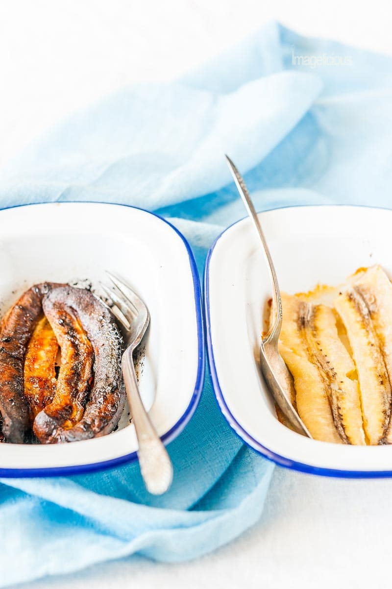 Two pans side by side with roasted bananas two ways