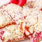 Photo of a tray filled with Strawberry Rhubarb Bars