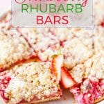 These Strawberry Rhubarb Bars are sturdy yet delicate. With soft cake-like layer at the bottom and a light oats crisp on the top. Sweet and sour. Summery and bright. Perfect dessert to celebrate summer | imagelicious.com #strawberries #rhubarb #strawberryrhubarb #summer #dessert #strawberry #crisp