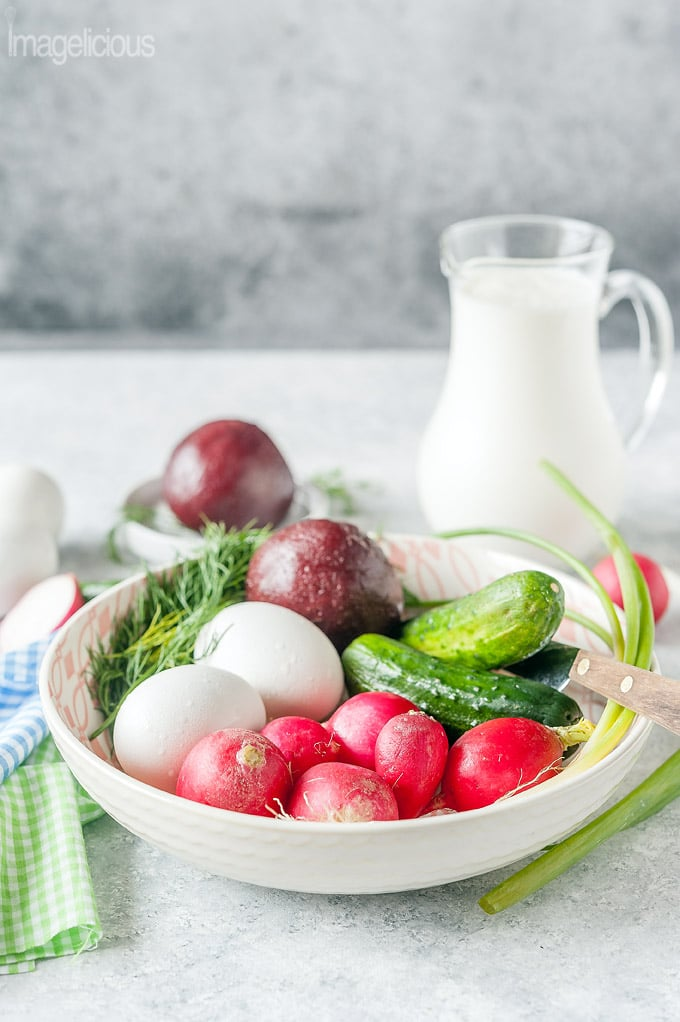 Unchopped ingredients in a bowl: radishes, cucumbers, beets, eggs, dill
