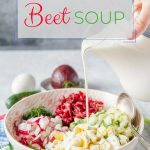 Cold Beet Soup is a perfect way to eat healthy and delicious during summer. A bowl filled with crunchy cucumbers, hard-boiled eggs, sweet beets, and cold creamy kefir will keep you full and satisfied for hours   imagelicious.com #coldsoup #summersoup #beetsoup #kefir #beets