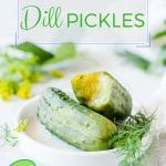 These Russian Dill Pickles are deliciously crunchy and refreshing. Easy and quick to make in only 2 days. No canning required | imagelicious.com #russian #pickles #dillpickles #dill