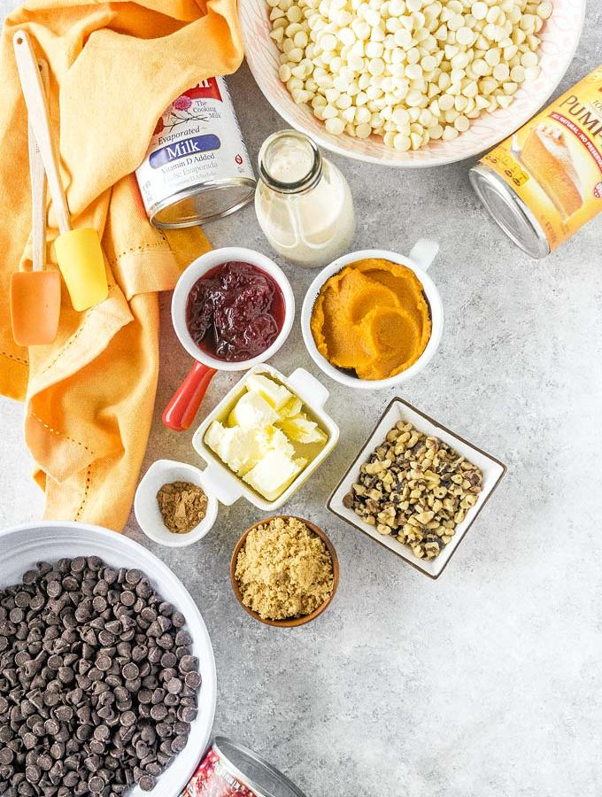 Top down view of all the ingredients to make Pumpkin Cranberry Fudge