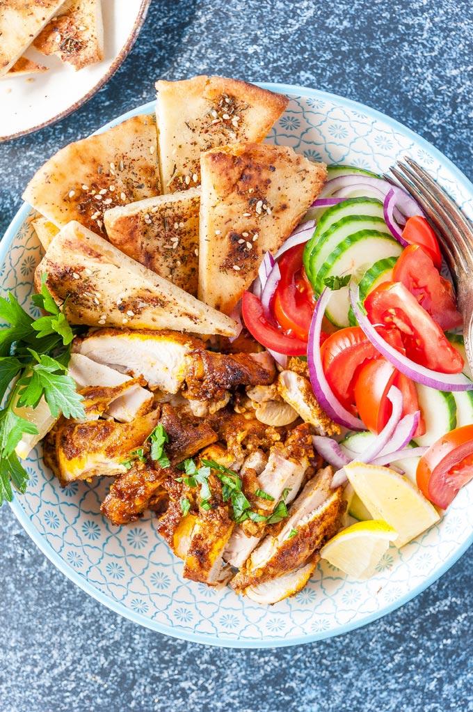 Closeup of a bowl of Chicken Shawarma