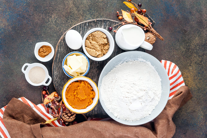 Top down view of all the ingredients to make the Instant Pot No Knead Pumpkin Cinnamon Rolls