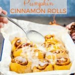 These Instant Pot No Knead Pumpkin Cinnamon Rolls are soft and sweet and delicious. With perfect cinnamon gooey centre and a sticky glaze. Great for Sunday brunch or Thanksgiving dessert | imagelicious.com #instantpot #instantpotrecipes #cinnamonrolls #pumpkinrecipes #thanksgiving