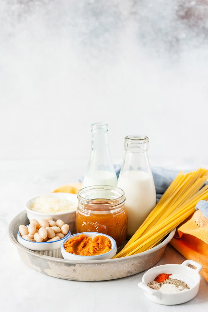 Photo of all the ingredients to make Instant Pot Pumpkin Fettuccine Akfredo