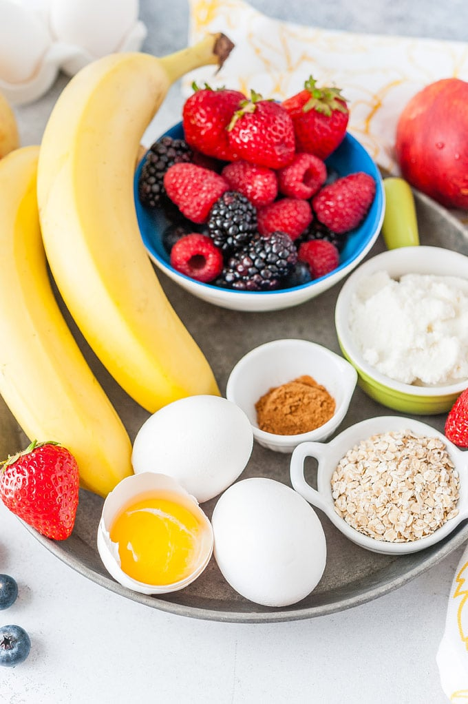 Closeup view of all the ingredients to make Instant Pot Fruity Egg Bites