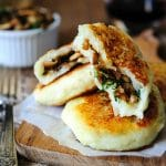 Vegan Potato Cakes stuffed with Mushrooms - Delicious way to use leftover mashed potatoes. Potato cakes are perfect for summer, fall or winter lunch | imagelicious.com #vegan #potatocakes #stuffedpotatocakes #mushrooms #potatoes