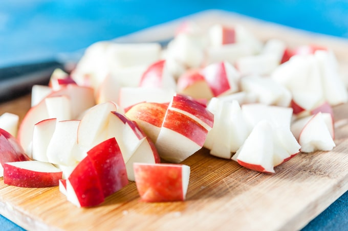 Closeup of chopped apples on a cutting board