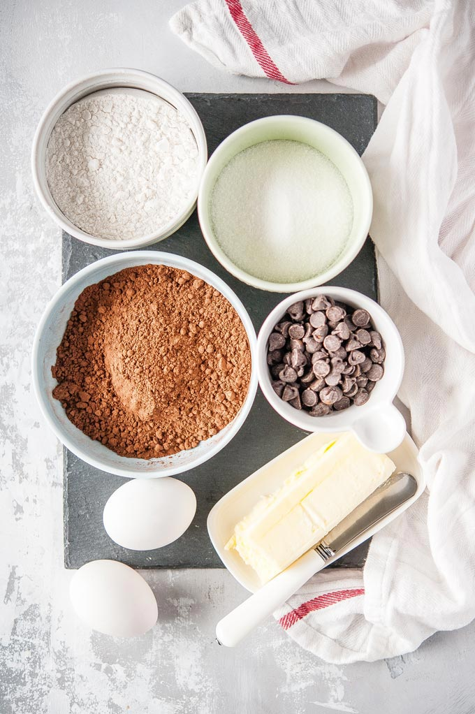 Top down view of all the ingredients to make Instant Pot Brownies