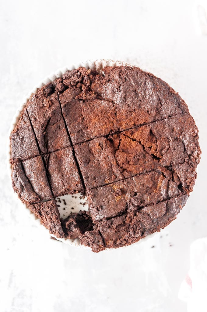 Top down view of Instant Pot Brownies cut into squares