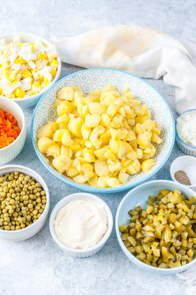 All chopped ingredients to make russian potato salad