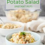 This Russian Potato Salad is one of the most popular Russian dishes. Salad of creamy potatoes and eggs, mixed with crunchy pickles, and speckled with peas and carrots. Instant Pot makes cooking it much easier and faster | Imagelicious.com #instantpot #russian #potatosalad
