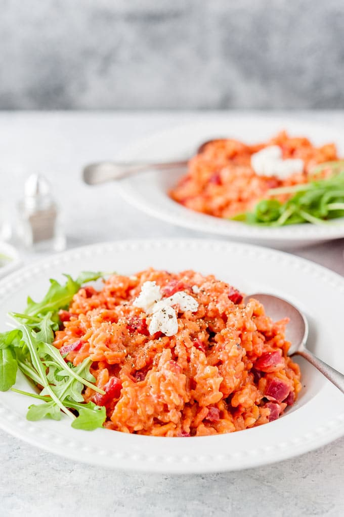 Closeup of Instant Pot Beet Risotto in a bowl