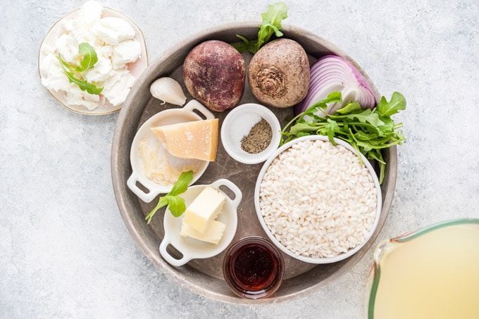 All the ingredients to make Instant Pot Beet Risotto