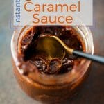 This Instant Pot Chocolate Caramel Sauce (or Chocolate Dulce de Leche) is perfectly luscious and thick and absolutely amazing as a dip or spread for cookies and fruit. Great for dessert fondue or as a gift also. Only 5 ingredients | imagelicious.com #instantpot #dulcedeleche #caramel #chocolate