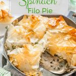 This Chicken Spinach Filo Pie is delicious and easy to make. Easily customizable to use up different leftovers in the fridge. Perfect for a casual supper or fancy dinner   imagelicious.com #filo #spinach #spinachpie