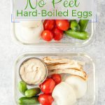 Instant Pot No Peel Hard Boiled Eggs are easy to make, really convenient, and they have the most delicious creamy egg yolk. Perfect for healthy snack, breakfast, or meal prep | #instantpoteggs #mealprepping