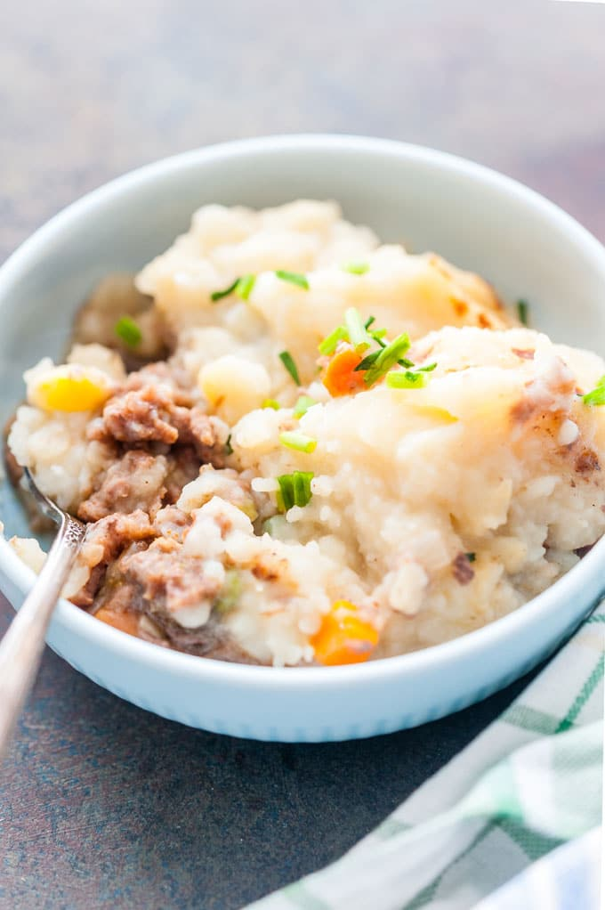 Closeup of a bowl with Shepherd's Pie