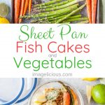 These Sheet Pan Fish Cakes with Vegetables, Israeli couscous, and Carrot Top Pesto are a healthy and delicious meal that is perfect for a light weekend or weeknight dinner. Great to meal prep and have for lunch throughout the week. Perfect recipe to celebrate all the fresh flavours of Spring | imagelicious.com #sheetpanmeal #fishcakes #easter
