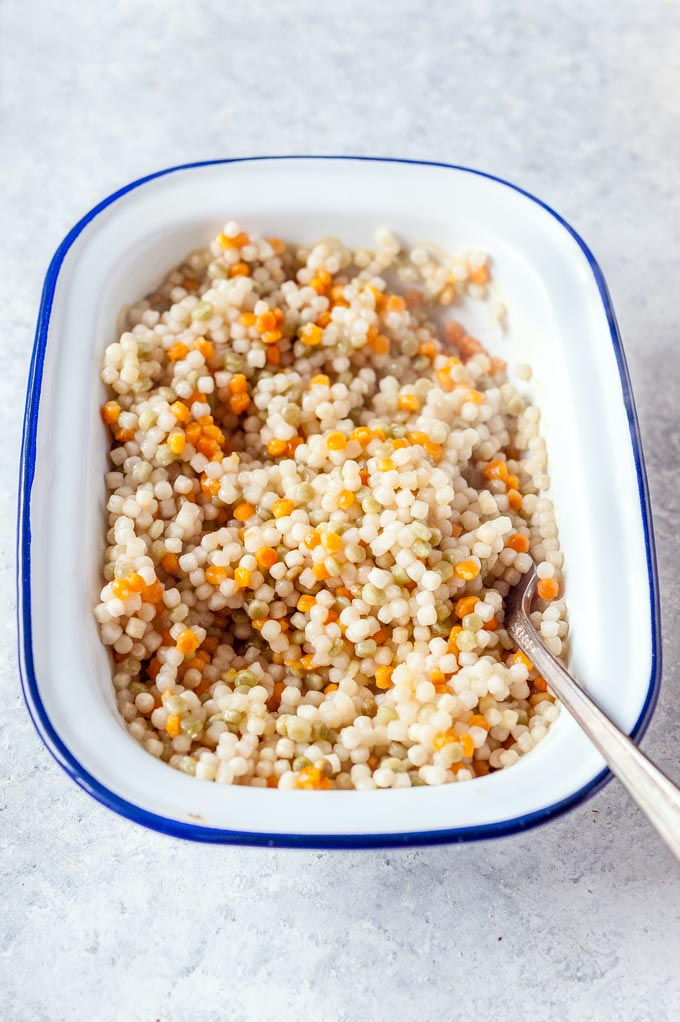 Small roasting pan with cooked Israeli Couscous