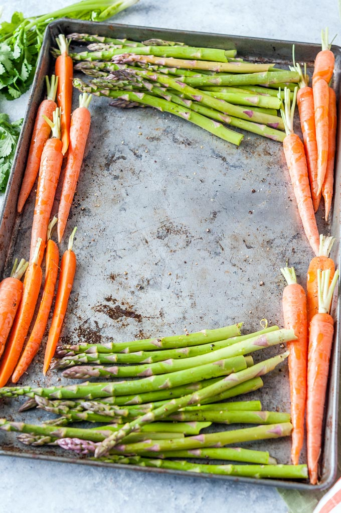 Sheet pan with asparagus and carrots