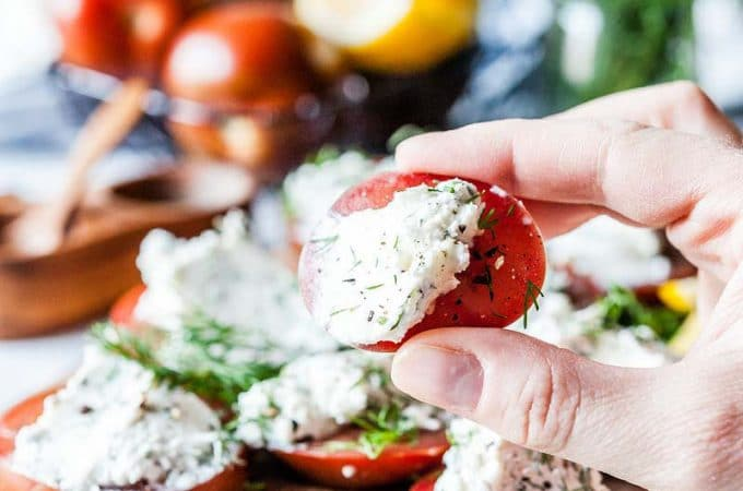 Tomatoes with Goat Cheese and Dill Appetizer