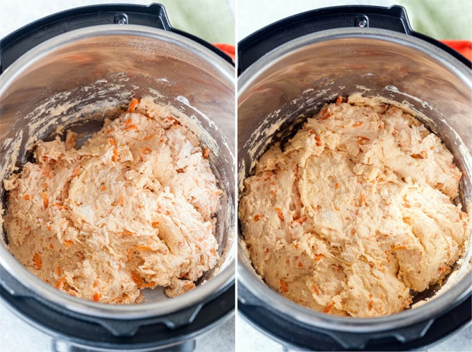 Collage of No Knead Carrot Bread Roll Dough in Instant Pot, mixed and then risen
