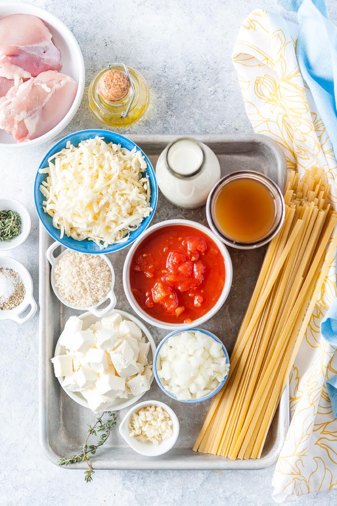 All the ingredients to make Creamy Pasta and Meatballs