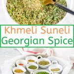 Khmeli Suneli is a wonderful and warming Georgian Spice Mix. It is great to flavour stews, soups, meats, chicken, and even rice or vegetables. Mix a big batch of your own and add to your favourite recipes. No additives or preservatives | imagelicious.com #spicemix #spices #khmelisuneli
