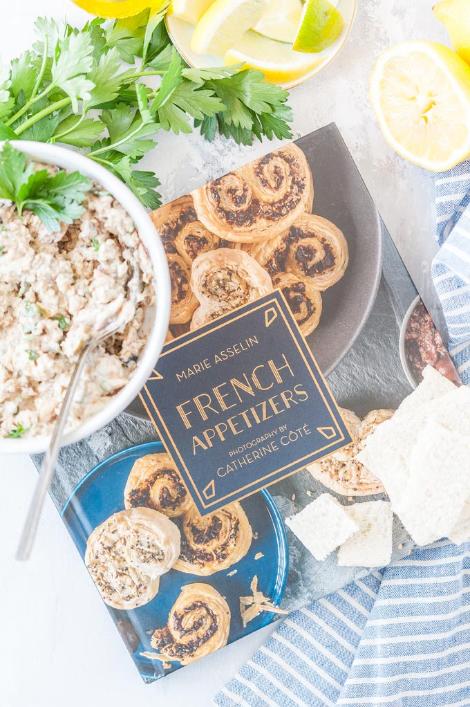 French Appetizers cookbook with a bowl of Sardine Rillettes