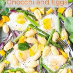 Sheet Pan Gnocchi and Eggs is a delicious breakfast or light lunch. Full of vegetables, eggs, and cheesy gnocchi. Beautiful and easy way to enjoy fresh produce and eggs without much effort, all on one pan. Great Easter Brunch   imagelicious.com #sheetpan #easter #eggs #breakfast