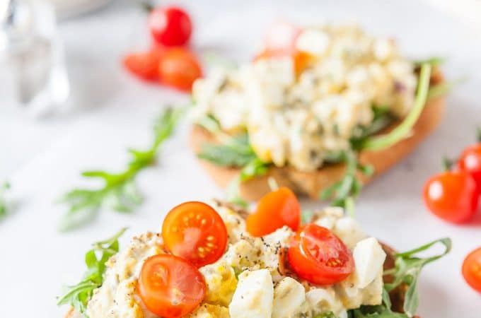 Closeup of an open-faced Tarragon Egg Salad Sandwich