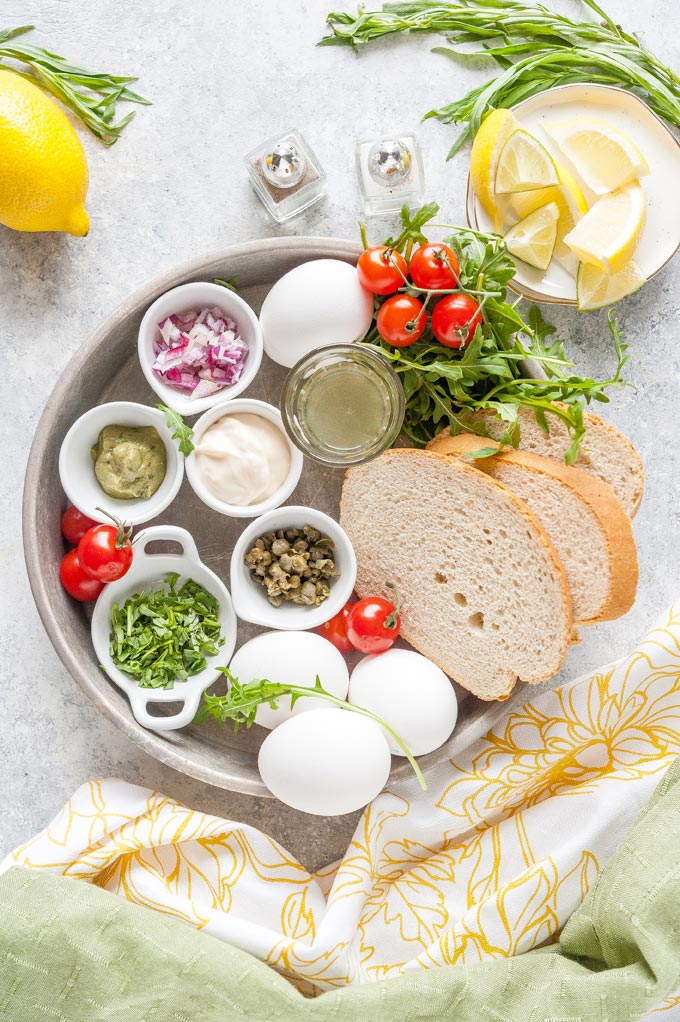 All the ingredients to make Tarragon Egg Salad Sandwiches