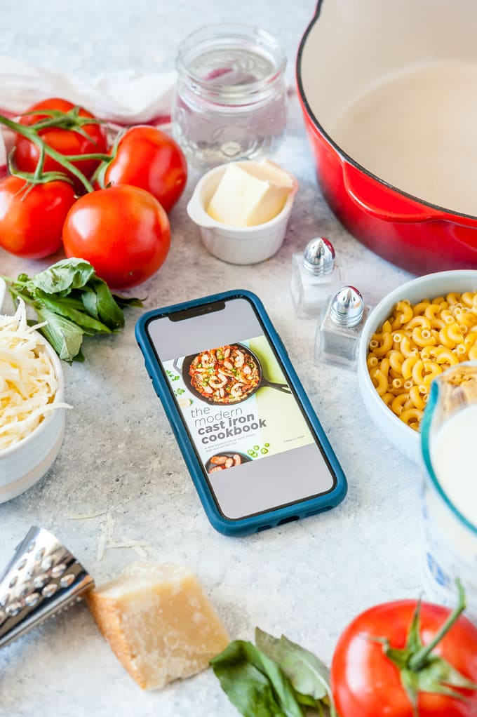 All the ingredients to make Caprese Macaroni and Cheese.
