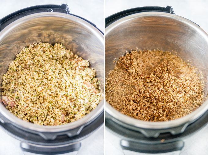 Process shots: Ingredients in Instant Pot before and after cooking