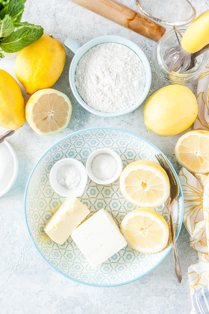 All ingredients to make Lemon Cream Cheese Cookies