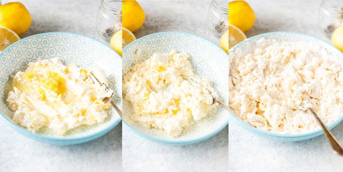 Collage of steps of making the lemon cookie dough
