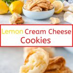 These Lemon Cream Cheese Cookies are flaky, lightly sweetened, with subtle lemon flavour. They taste almost like lemon pie dough. Egg-free | imagelicious.com #cookies #lemon #creamcheesecookies