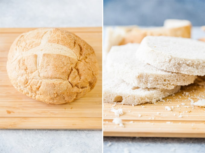 Process view of a loaf of bread and then same bread with the crusts cut off and sliced into three layers