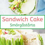 Swedish Sandwich Cake (Smörgåstårta) is a beautiful and delicious savoury appetizer made with layers of bread, fillings, and decorated with savoury frosting and vegetables. Stunning centrepiece for any table. It will be a guaranteed show-stopper and a conversation starter | imagelicious.com #Smorgastarta #sandwichcake #sandwich
