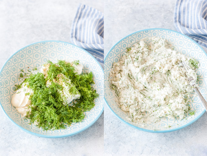 Collage of two process photos of goat cheese and dill stuffing.