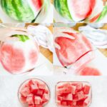 Learn how to cut a watermelon in the easiest possible way. Only 5 minutes prep and you have a whole watermelon cut up for snacking. Great for meal prepping, adding to a fruit platter, making smoothies, or just eating as dessert. No mess! Best way to cut a watermelon | imagelicious.com #watermelon #howto #cookingtips