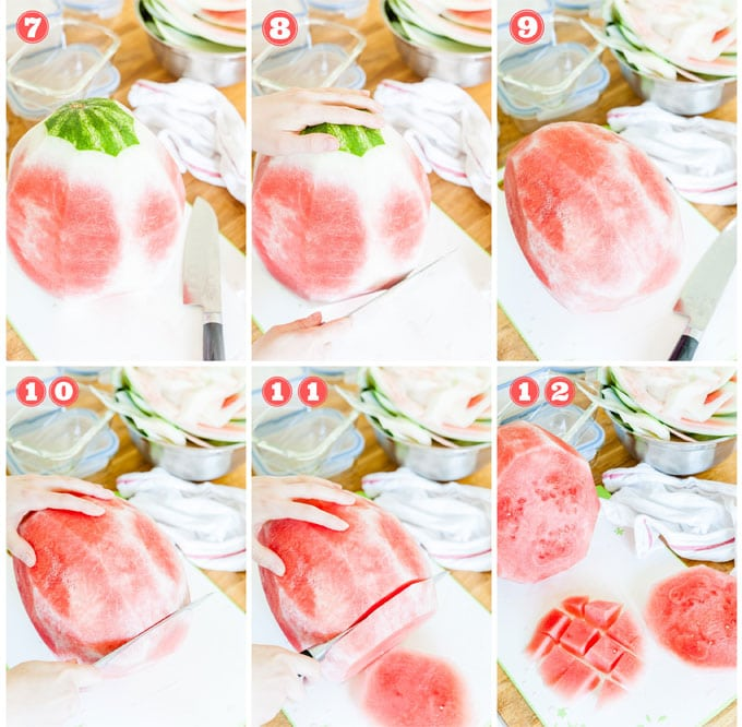 Collage of process photos showing how to cut a watermelon.