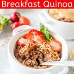This Instant Pot Chocolate Breakfast Quinoa is absolutely delicious. It is also super easy to make and it has just 2 ingredients! Customize it with your favourite toppings and fillings for a healthy breakfast | imagelicious.com #quinoa #breakfast #instantpotrecipes