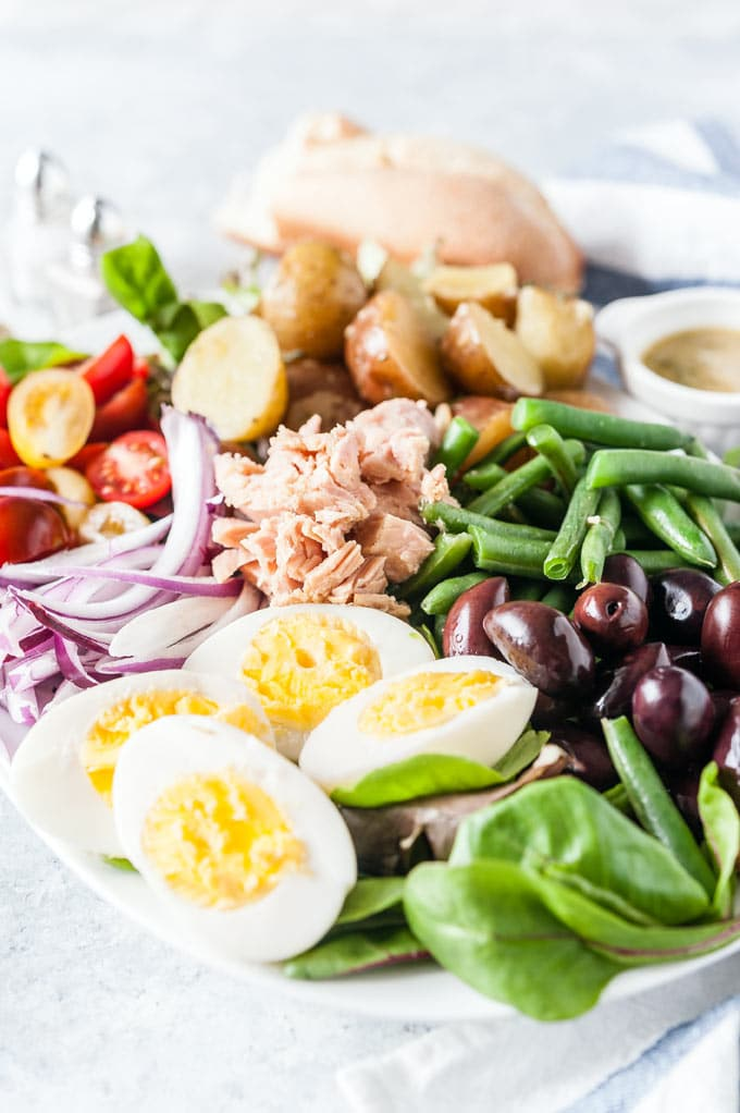 Closeup of Nicoise Salad.